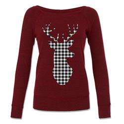 Black & White Plaid Deer Dark Red Wide Neck Sweater
