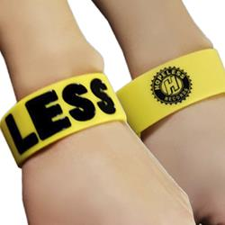 Less Yellow W/ Black Text Wrist Band