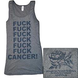 Fuck Cancer Stacked Grey On Grey Girl's Tank Top