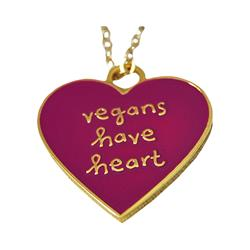 Vegan's Heart Gold / Pink Necklace