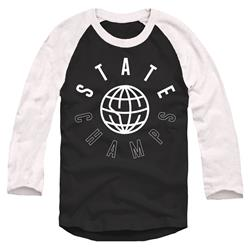Worldwide White On Black Trunk Raglan Baseball Shirt