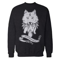 Indian Wolf Girl Deep Heather Grey Crewneck