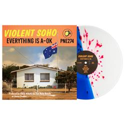 Everything Is A-OK Half Clear/Half Blue W/ Red Splatter
