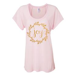 Joy Gold Shimmer Ink On Soft Pink Flowy