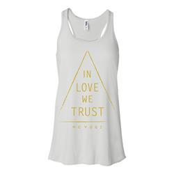 In Love We Trust Triangle Ladies Flowy White Tank Top