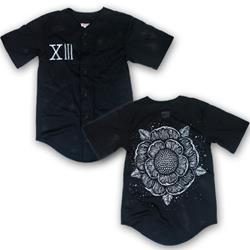 Flower Black Baseball Jersey