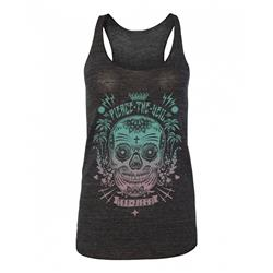 Sugar Skull Grey Racerback Tank