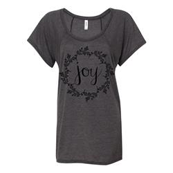Joy Black On Dark Heather Flowy