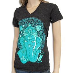 Ganesh Face (Turquoise Print) Black