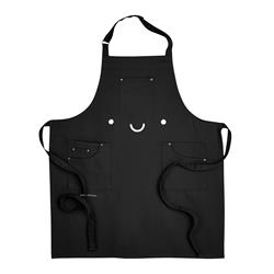 Smile Embroidered Black Apron