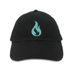 Blue Flame Logo Black Dad Hat