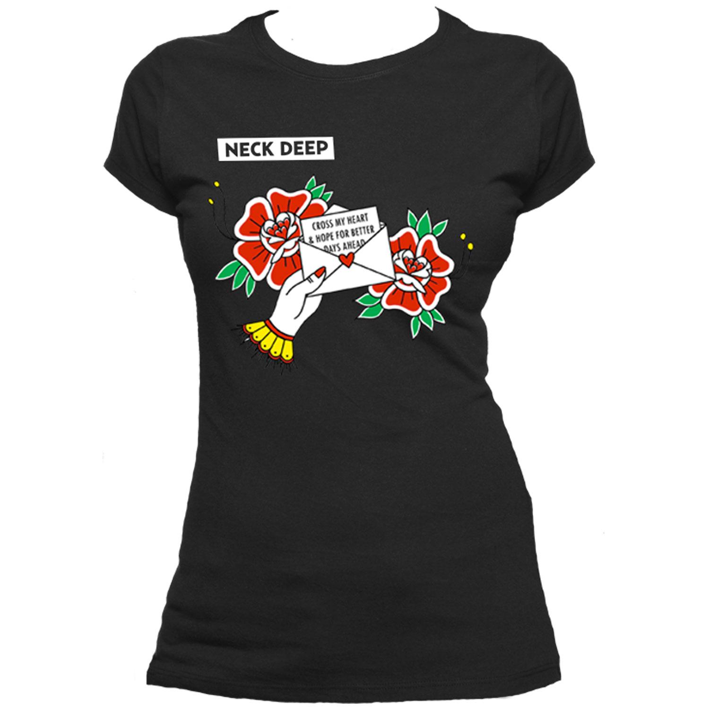 Cross My Heart Flowers Black Ladies Tee