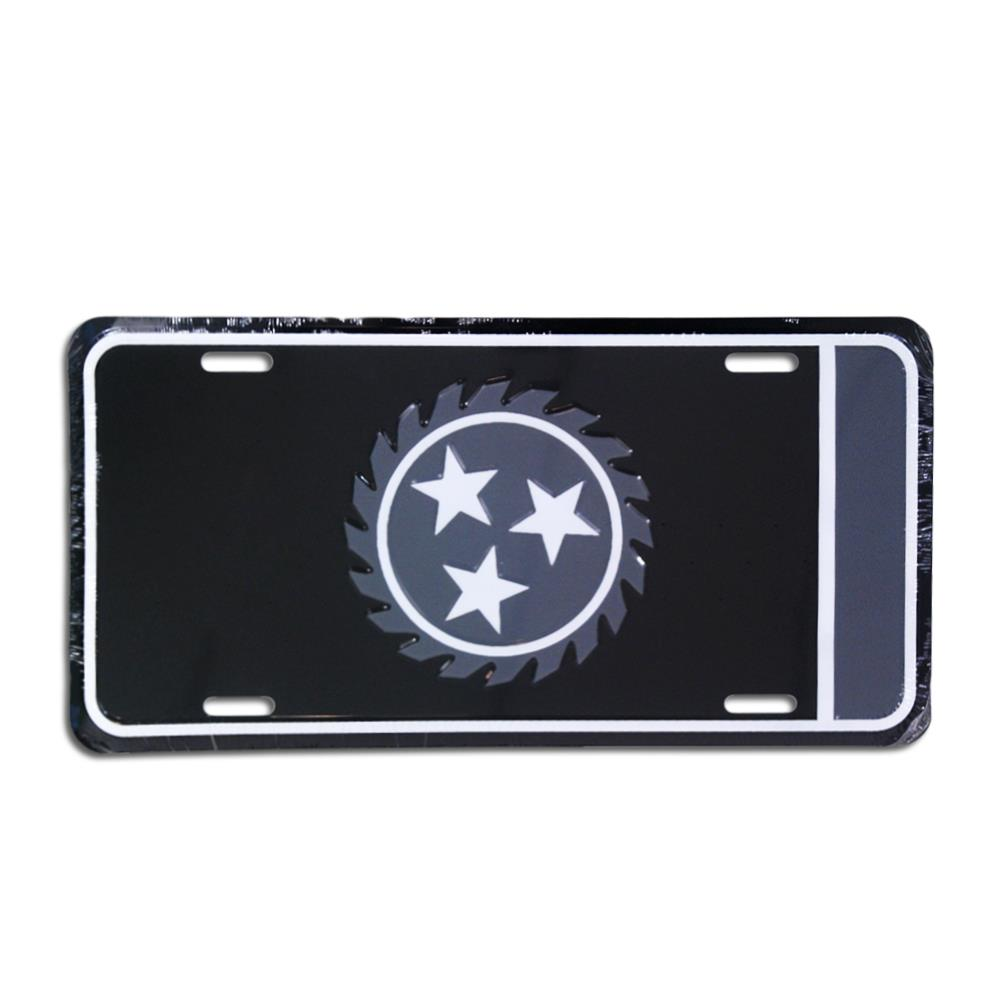 Sawblade Black License Plate