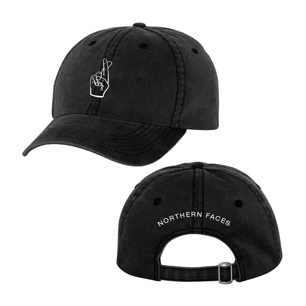 Fingers Crossed Pigment Dyed Black Dad Hat