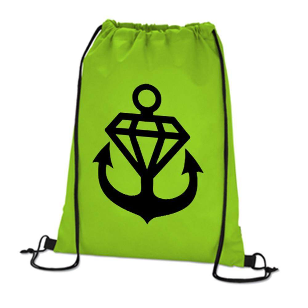 Anchor Logo Lime Green Cinch Bag