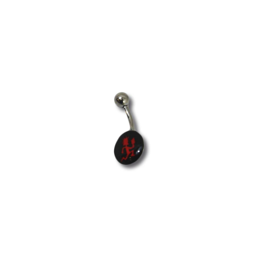 Black Circle Red Hatchetman  Belly Piercing Ring