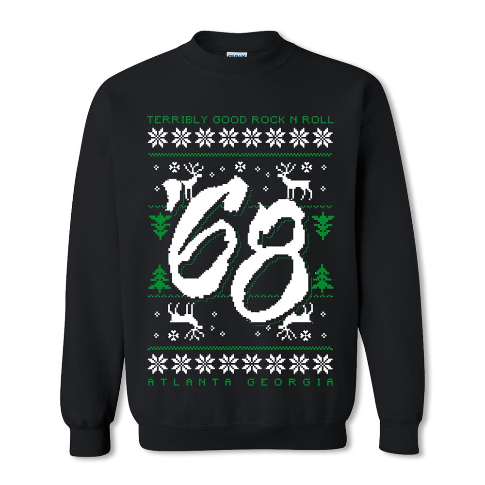 Rock N Roll Ugly Christmas Black Crewneck