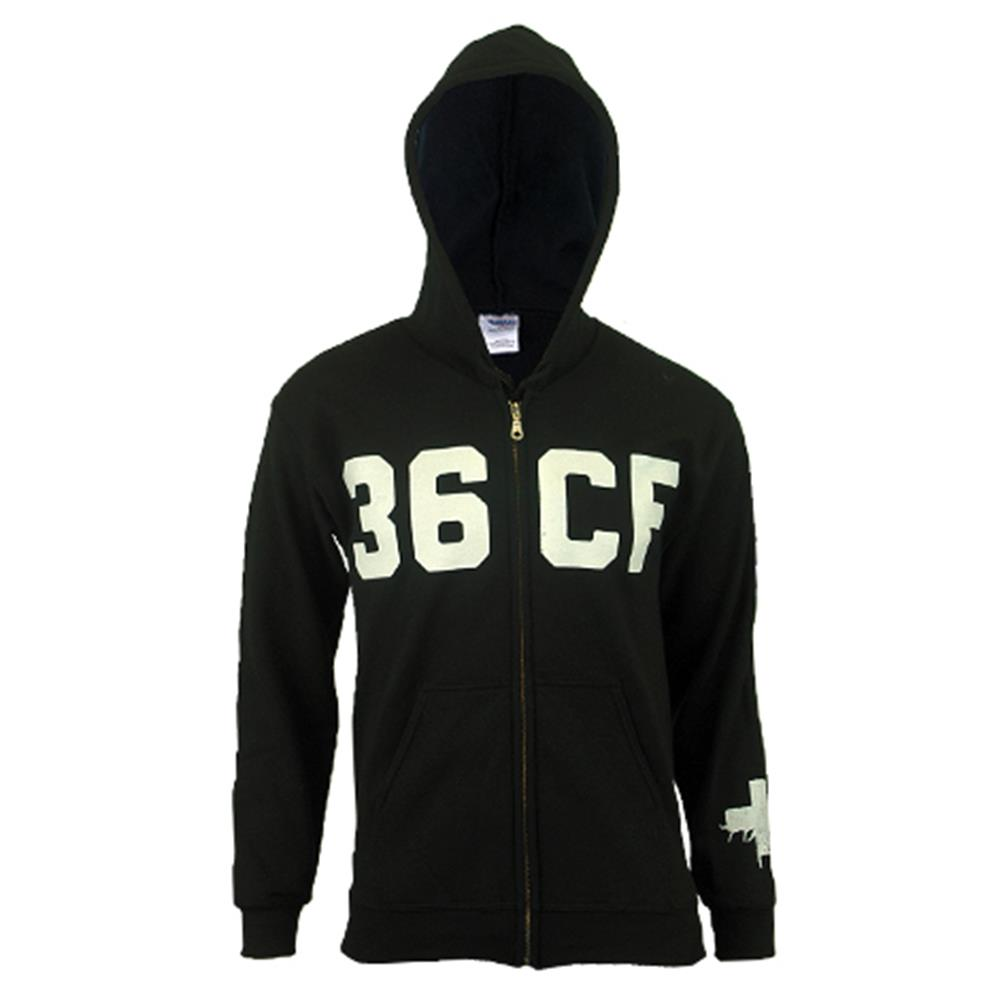 Logo Black Hooded Zip-Up
