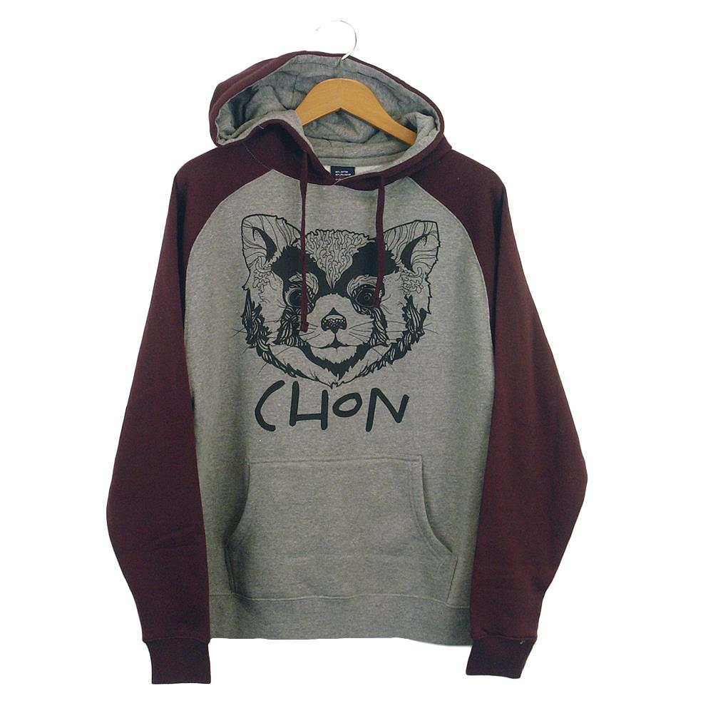 Raccoon Gunmetal Heather/Burgundy Hooded Pullover