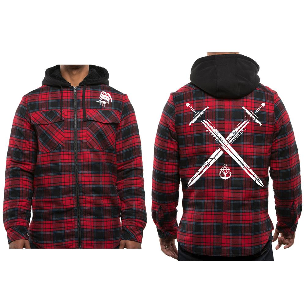 Swords Red Flannel Hooded