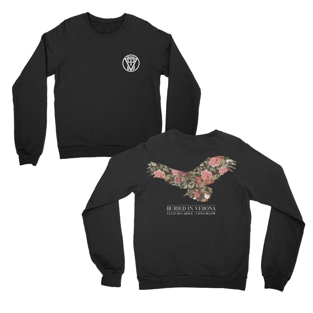 Floral Black Crewneck Sweatshirt