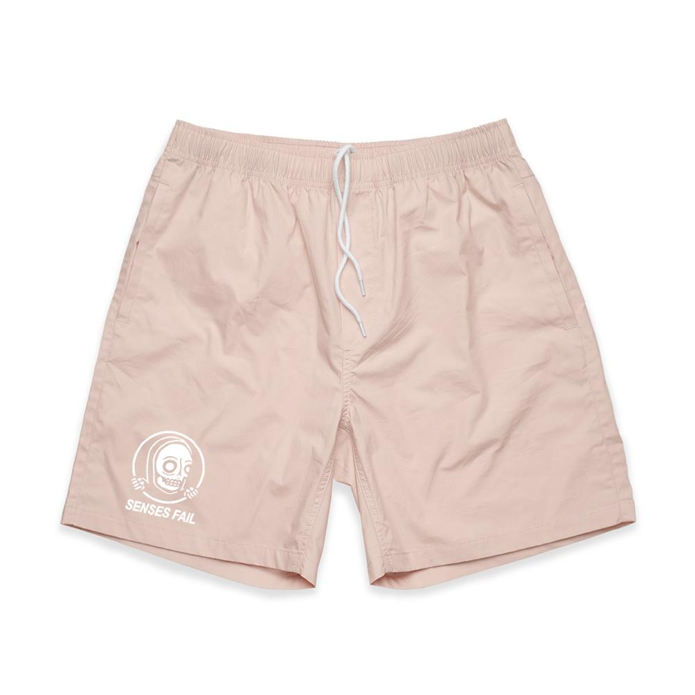 Skull Hands Pale Pink Beach Shorts