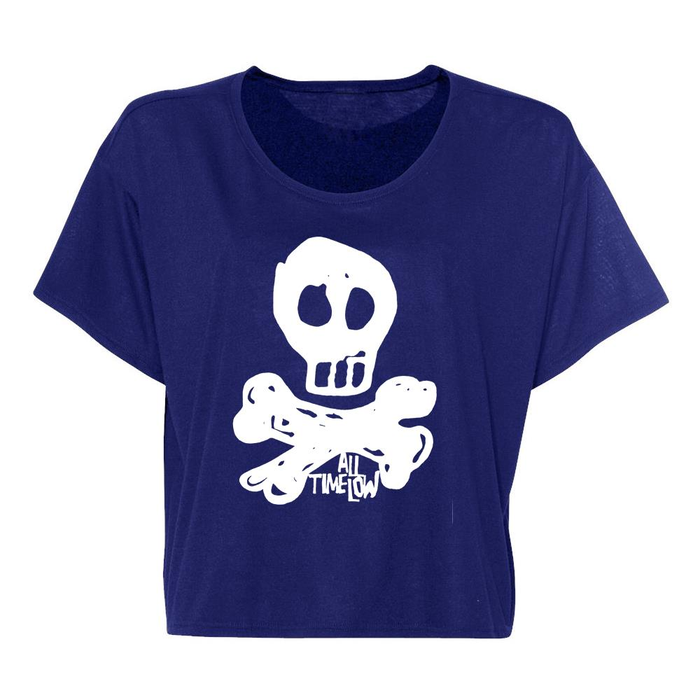 Limited Edition Skully American Blue Crop Top