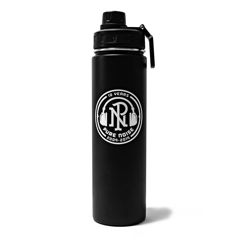 10 Years Logo Black Water Bottle