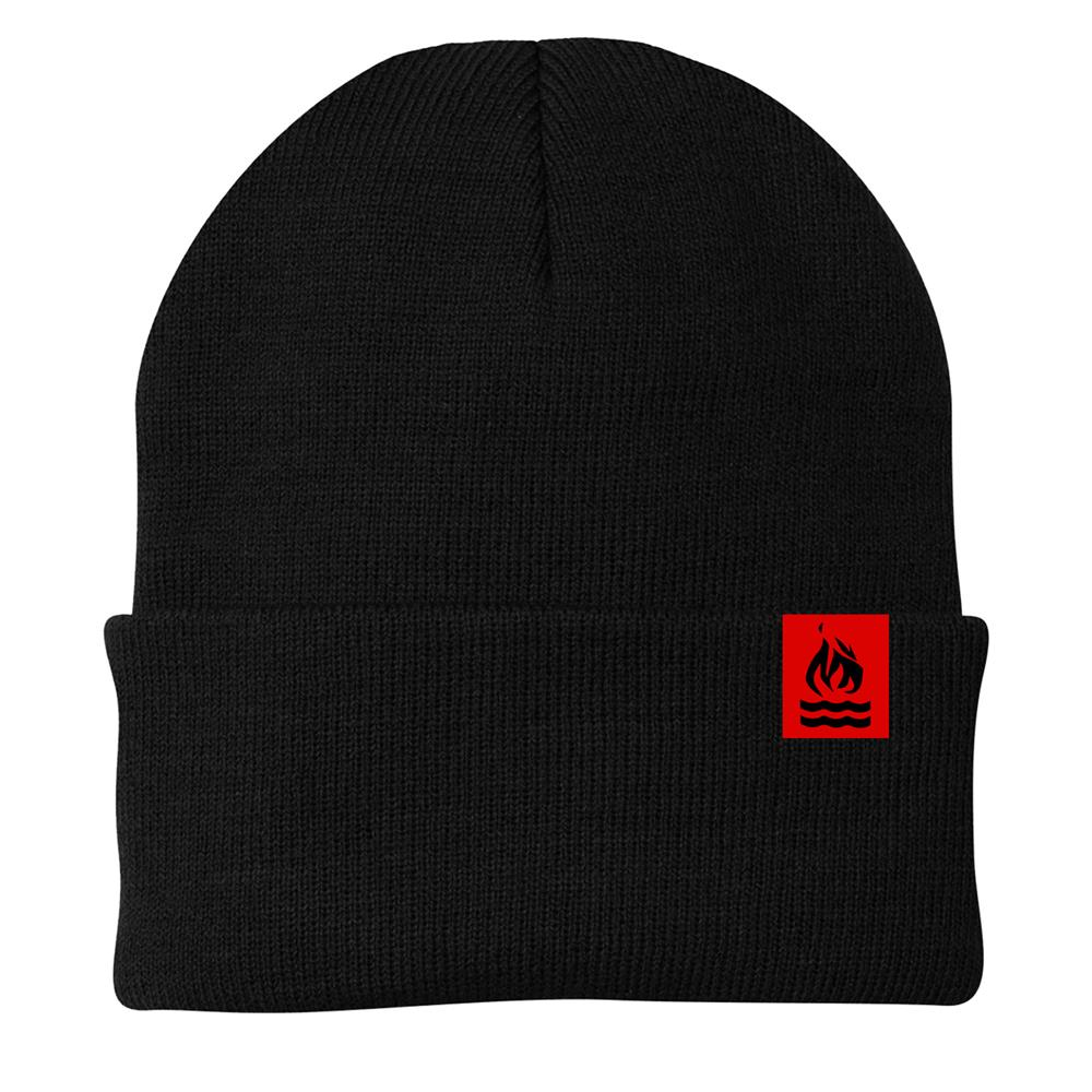 Logo Sewn Tag On Black Cuffed Beanie