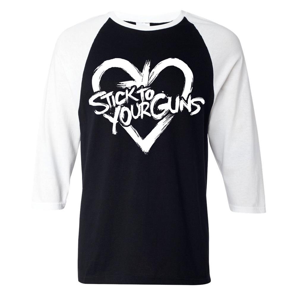 Heart Black/White Baseball Shirt