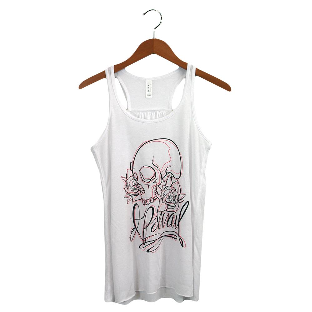 Sketched Skull Script Lady's Tank