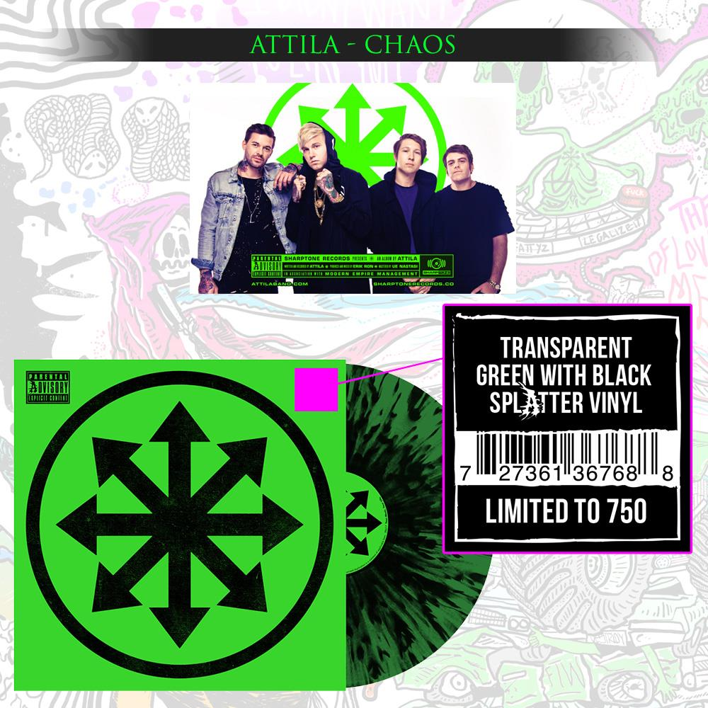Chaos Transparent Green w/ Black Splatter Vinyl