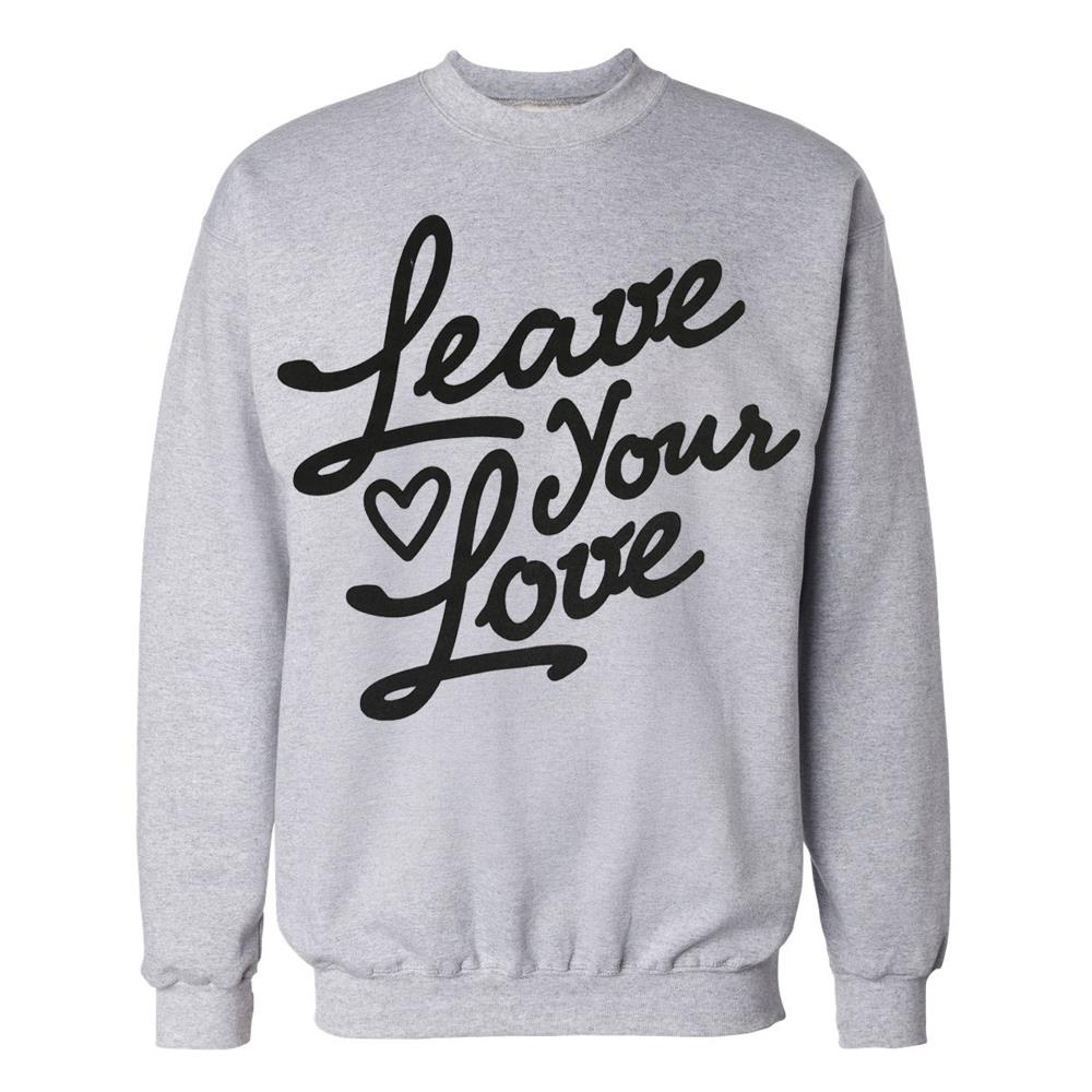 Leave Your Love Script Heather Grey Crewneck Small