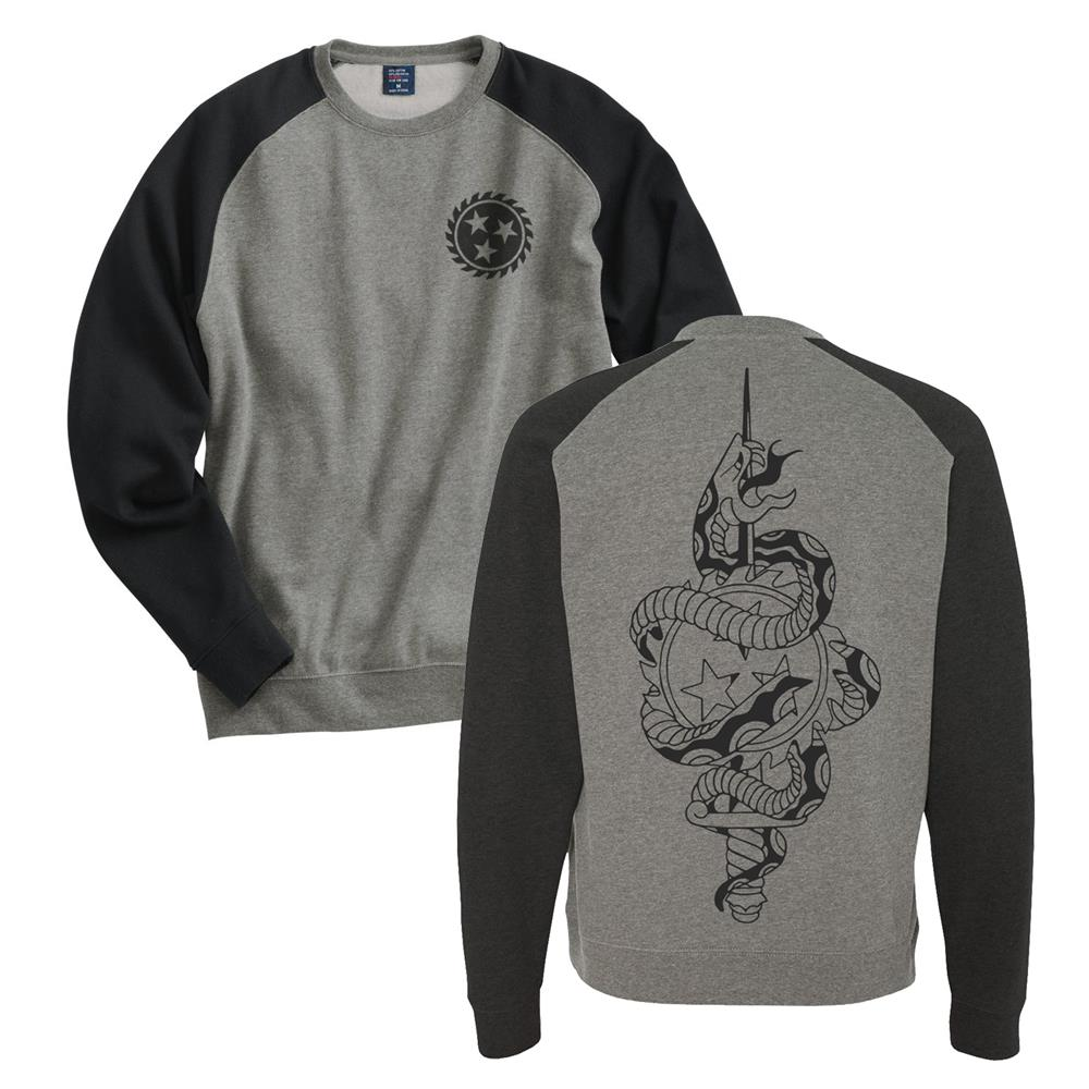 Dagger Snake Gunmetal Heather/Charcoal Heather Crewneck Large