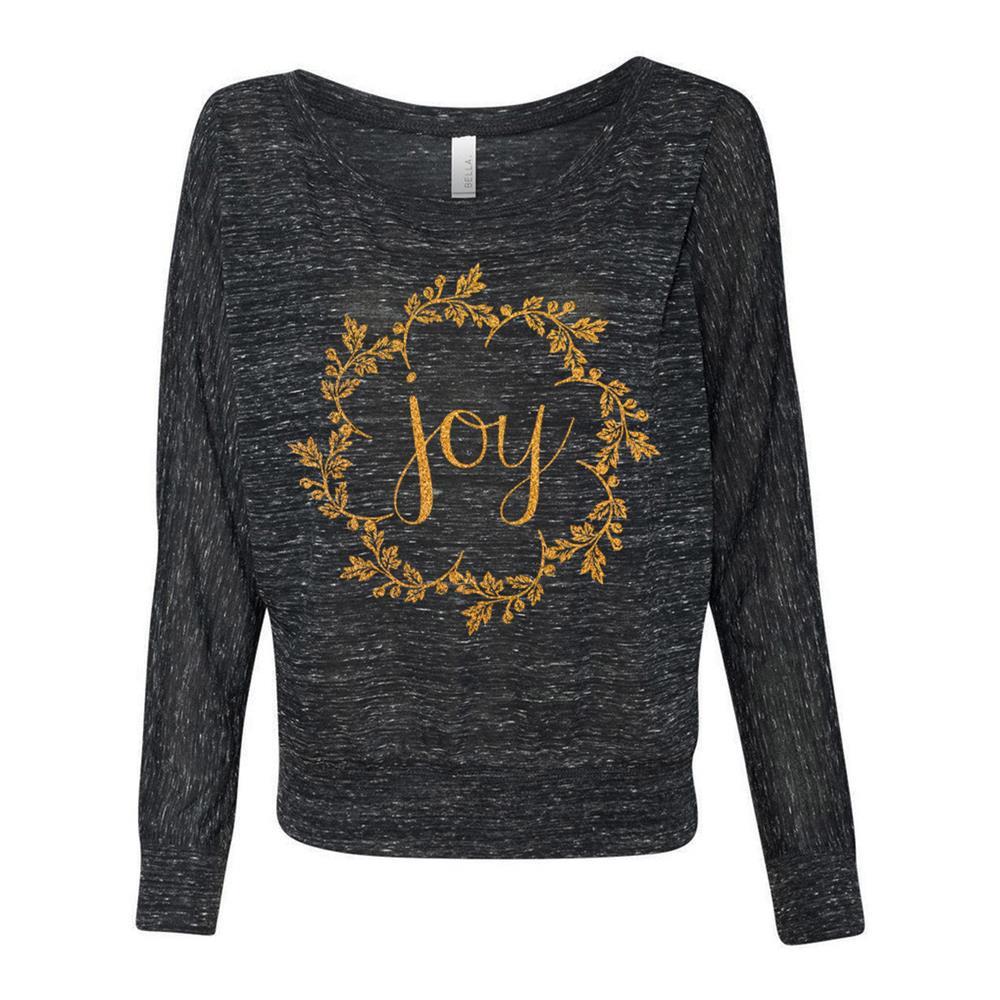 Joy Goldshimmer Ink On Black Marble Ladies Off-The-Shoulder Shirt