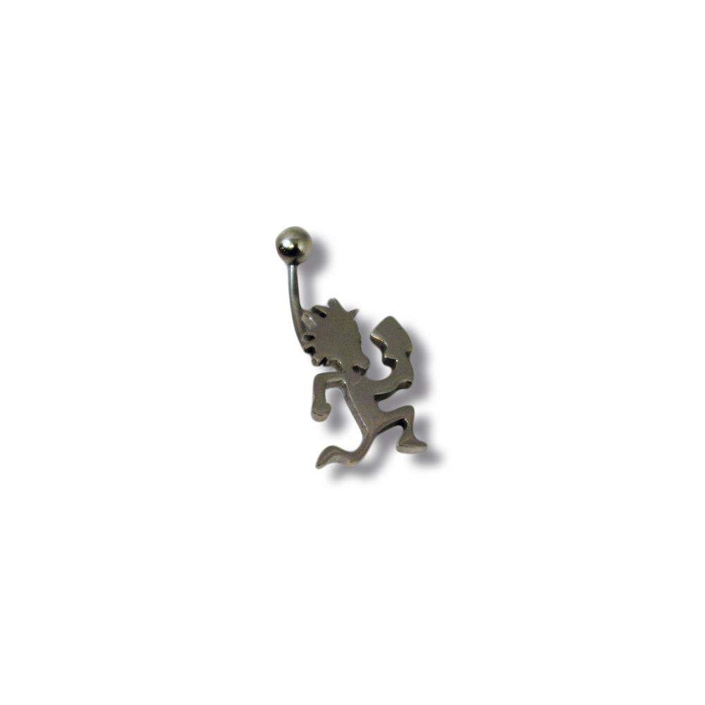 Fixed Silver Hatchetman  Belly Piercing Ring