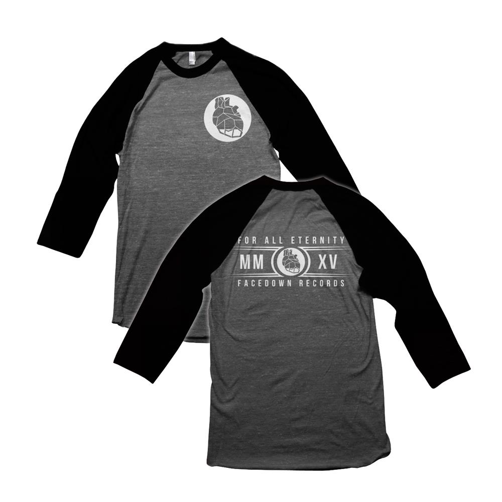 Circle Heart Black/Grey Baseball T-Shirt *Final Print*