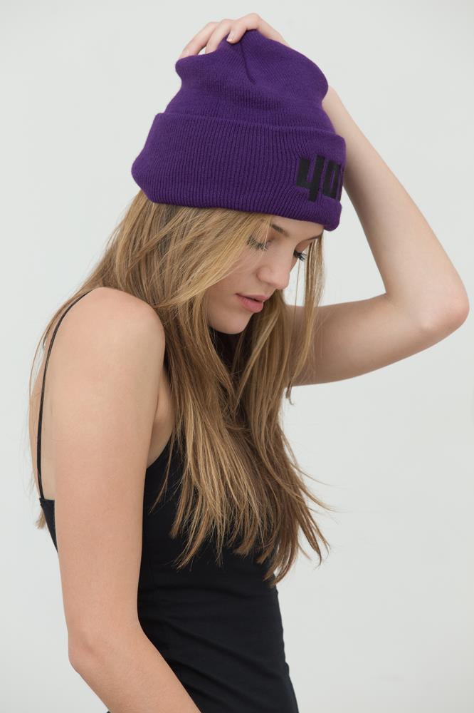 4OU Logo Purple Beanie