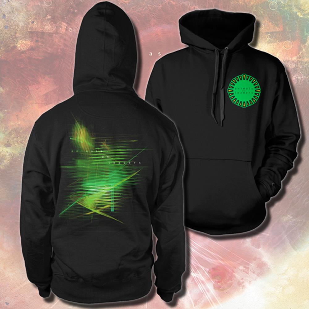 Green Emblem Black Hooded Pullover