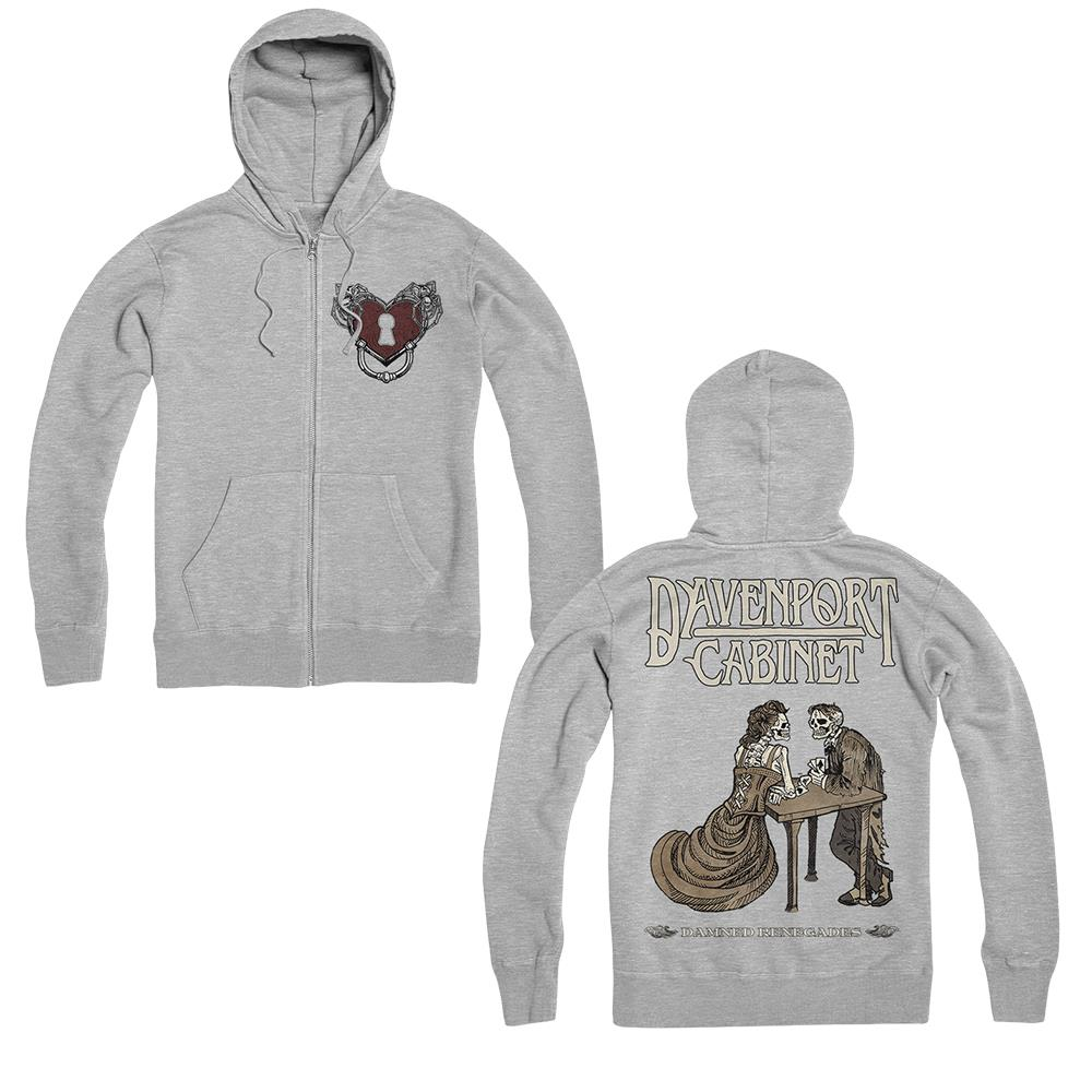 Heart Lock Heather Grey Zip-Up
