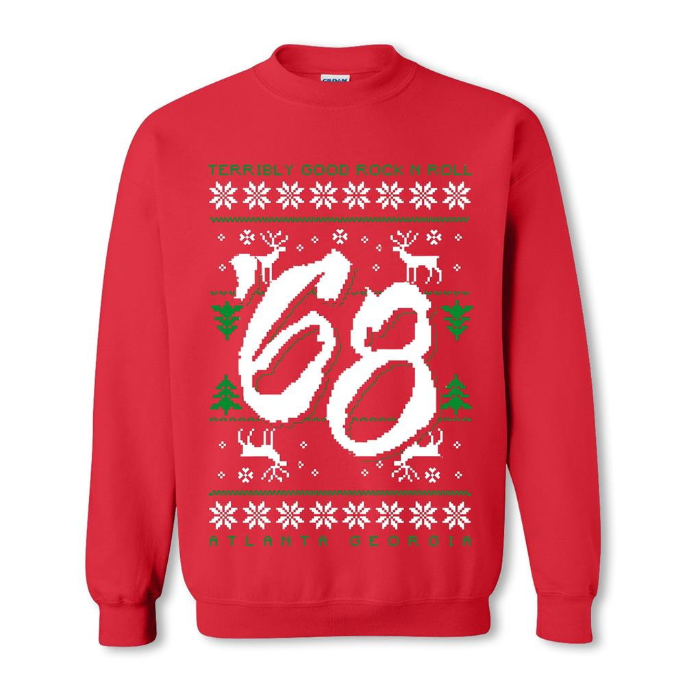 Rock N Roll Ugly Christmas Red Crewneck