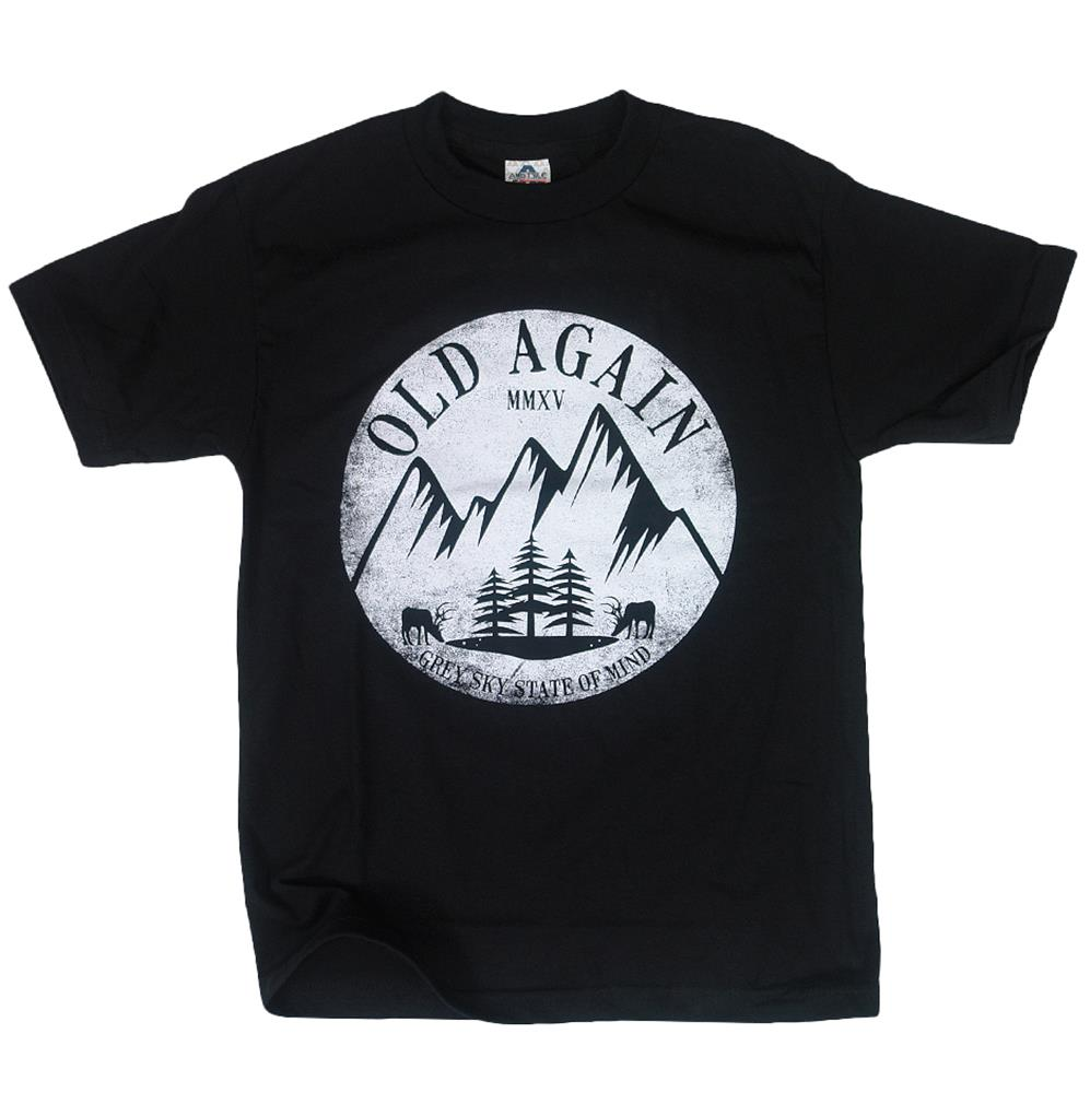 Grey Sky Mountains Black T-Shirt