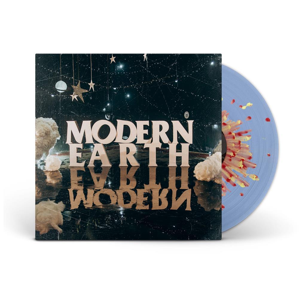 Modern Earth Sea Blue W/ Yellow & Red Splatter