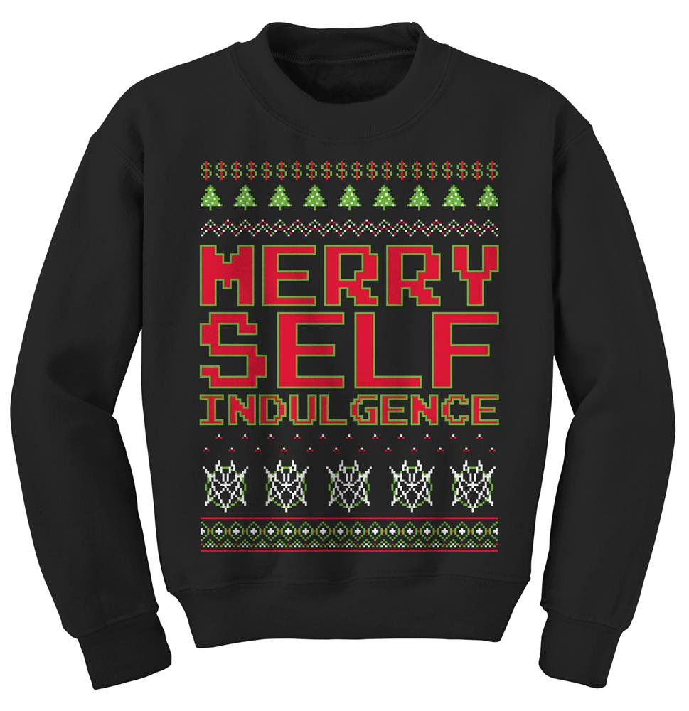 Merry Self Indulgence Black Crewneck
