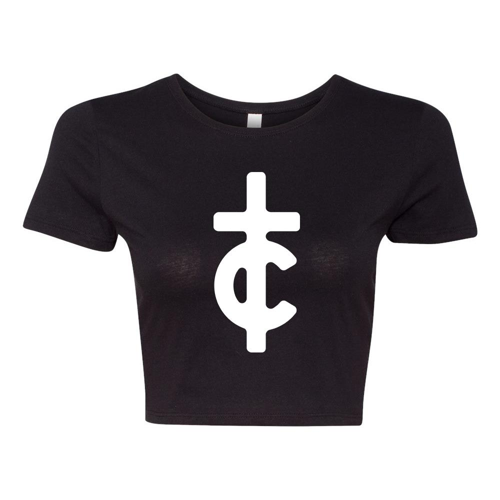 TC Filled Logo Black Crop Top