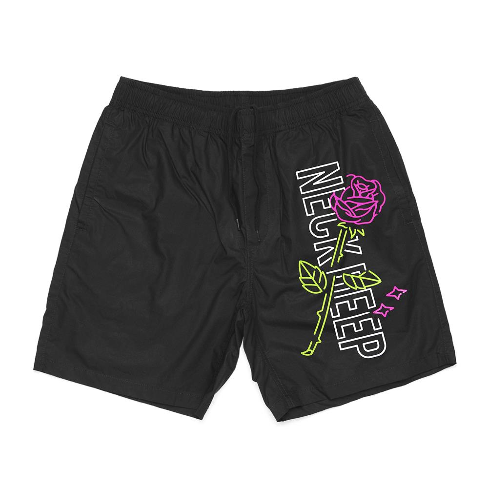 Rose Black Beach Shorts