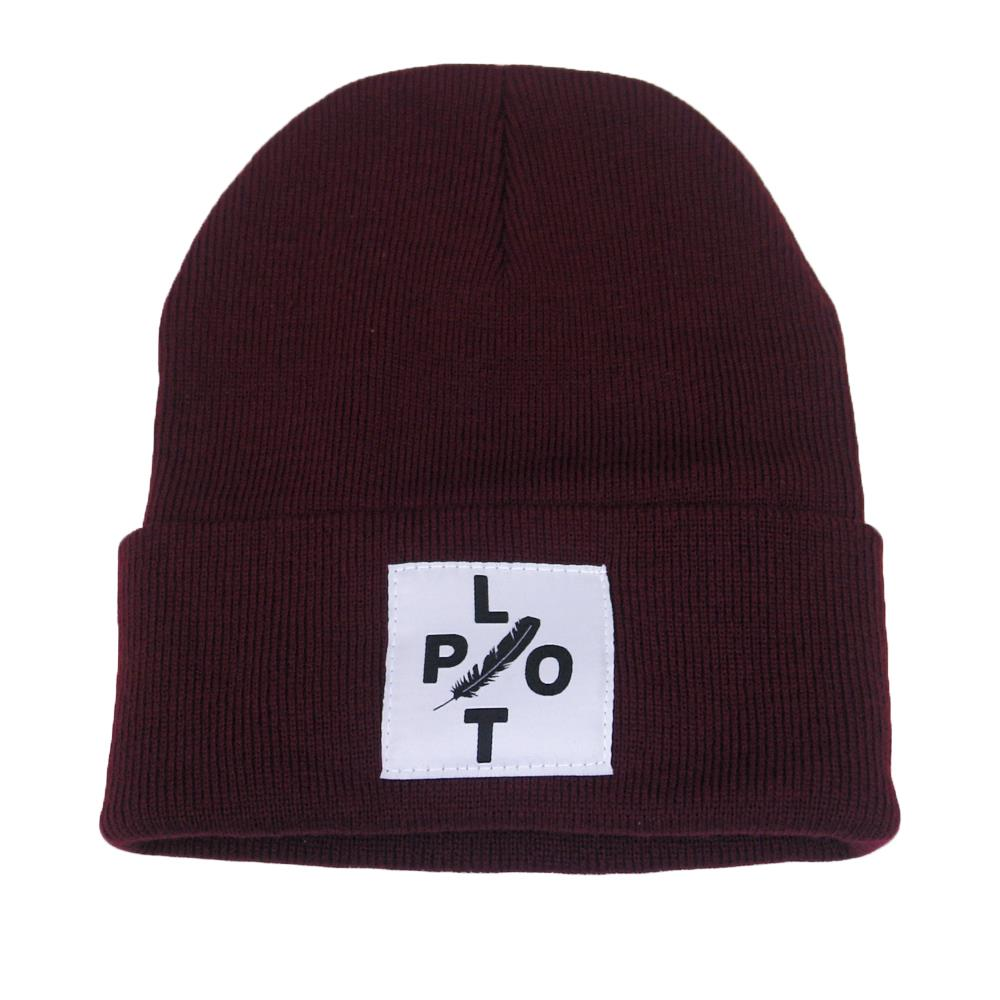 Plot Feather Maroon Patch Beanie