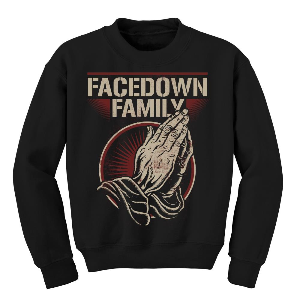 Facedown Family Praying Hands Black Crewneck *Sale! Final Print*