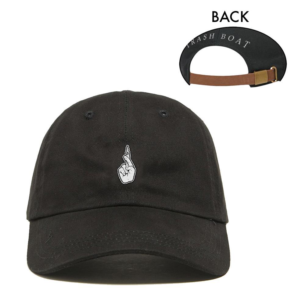 Fingers Crossed Logo Black Dad Hat