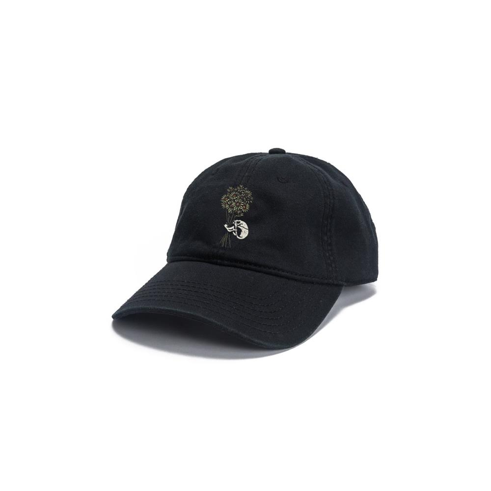 Skull Flowers Black Dad Hat